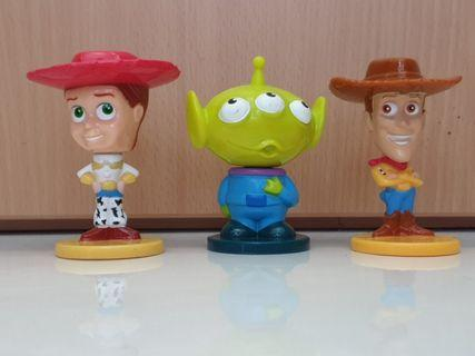 Toy Story set of 3 Bobble Heads from Kelloggs in good condition displayed only