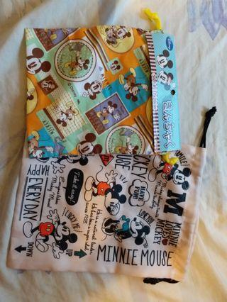 Mickey & Minnie 雙面索繩袋一set