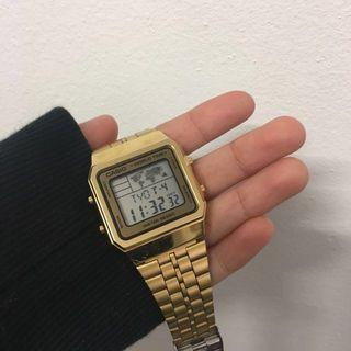 world time gold casio watch