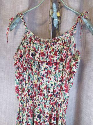 🍒《夏天來了》櫻桃小紅碎花棒帶無袖荷葉邊洋裝。胸前及下擺都是荷葉造型。$390