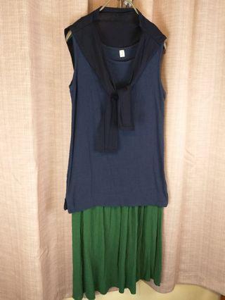 🚚 👻《中國風夏裝》麻紗料深藍色長背心加綠色長裙加短匹巾。中國風簡單利落。材質涼爽。整套$390