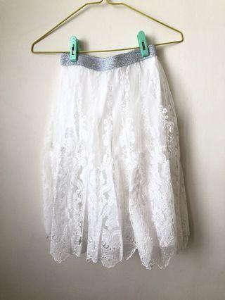 🚚 [全新品僅試穿]夏日蕾絲白紗裙S號 柔軟紗裙 細緻蕾絲裙 現貨一組