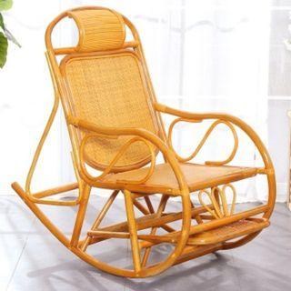 滕制搖搖椅子($1180包送貨)老人家露台用搖搖椅午休躺椅休閑椅藤椅老人逍遙椅懶人躺椅