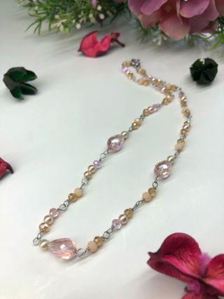 Handmade Choker - Pastel Pink Gemstone Choker