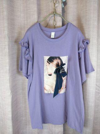 💇♀️韓國紫色長髮蝴蝶結女孩中長T,袖子有荷葉造型。2手$390