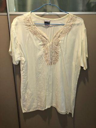 Beige cotton embroidered top