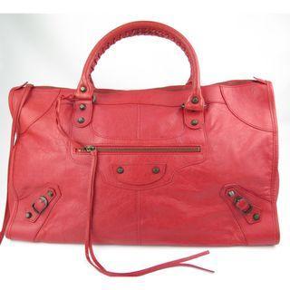 Balenciaga The Work Hard City Bag Red Leather