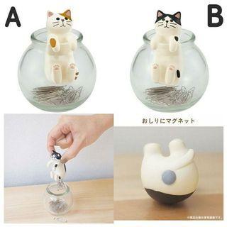 🚚 趣味磁吸貓咪迴紋針收納罐