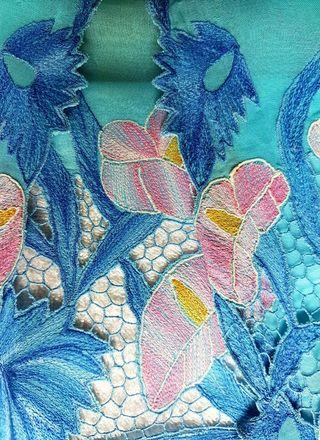 100% made in Sg. Rare! The one and only. Vintage Nonya Kebaya Top made of turquoise blue sheer voile embellished with embroidered anthurium like flowers.