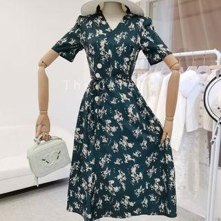 TC3483 Korea Flowers Printed Dress