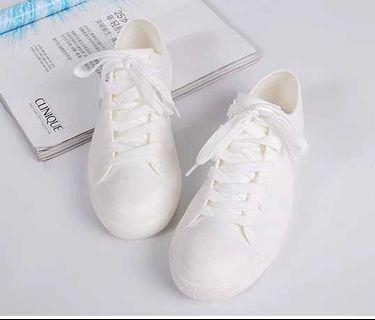 白色雨天出街簡約女裝雨鞋防滑防水膠鞋成人水鞋