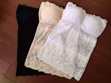 🚚 全新未試穿 蕾絲平口bra top 白色+黑色一組不拆賣 banana6226