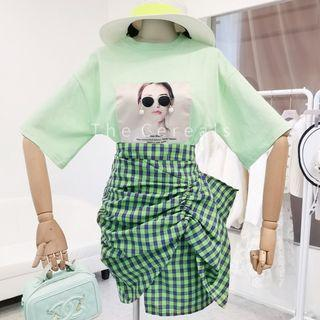 TC3486 Korea 2 Pieces Miss T-shirt + Checkers Designer Skirt (Set)(Green,Yellow,White)