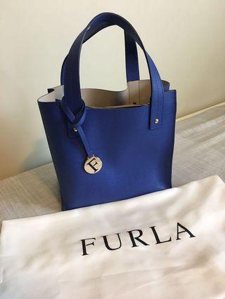 Furla Saffiano Leather Divide-it 'sally' Blue Tote Bag Handbag