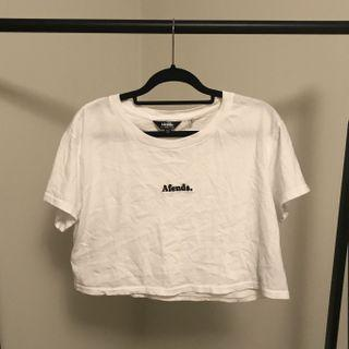 Afends White Cropped T Shirt