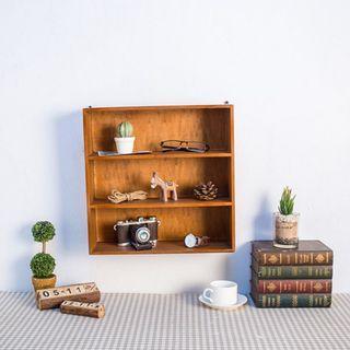 現貨 zakka 3層 3格 三格 可吊掛 藍色 深木色 原木收納 桌上收納整理櫃 三層 生活雜貨 OLA32F2
