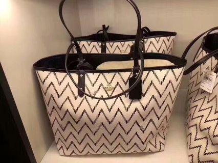 Coach Reversible City Tote With Geo Chevron Print Preorder