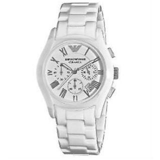 a303c5a45b78 Emporio Armani AR1404 Ladies White Ceramic Round White Dial Chronograph  Watch
