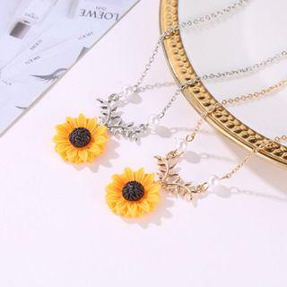 [ SET ] Sunflower Necklace + Earrings