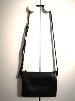 丹麥Markberg三格真皮 trio側背袋 black leather crossbody bag