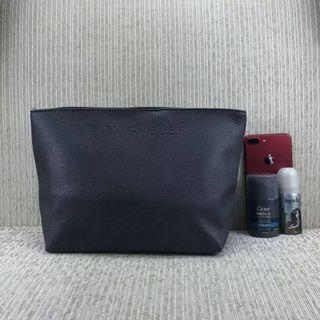 Tag Heuer Grey Toiletries Leather Pouch ( Extra Large )