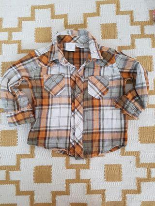 18m checkered long sleeve shirt