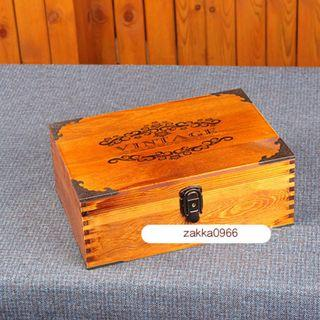 🚚 zakka 生活雜貨 大款 A4 原木 深木色 VINTAGE 鎖盒 收納木盒 收納盒 中國風 OBO24F2