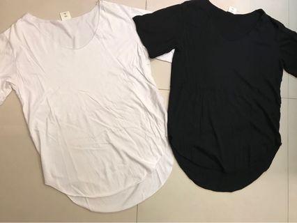 🚚 韓國購入韓國製圓弧擺上衣 兩件合售