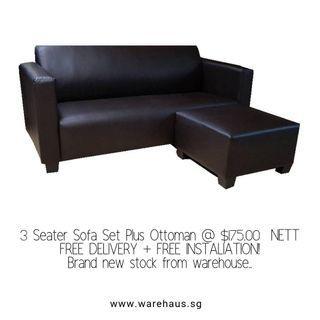 Brand New Three Seater Sofa with Ottoman