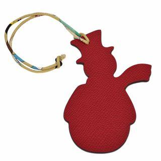 Authentic HERMES Petit H Snowman Bag Charm Red/ Plomb