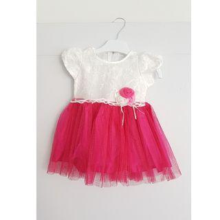 Baju Dress ulang tahun birthday pesta party baby girl pink muat newborn s.d 2 tahun tile putih