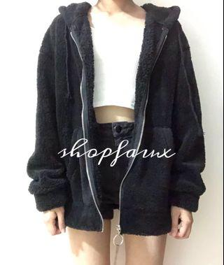 INSTOCK black oversized fluffy jacket