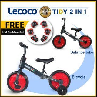 [RED] Lecoco 2 In 1 Tidy Push Bike Balance Bike with Training Wheels