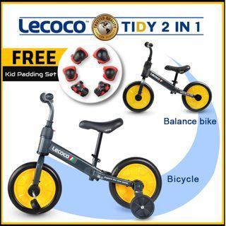 [YELLOW] Lecoco 2 In 1 Tidy Push Bike Balance Bike with Training Wheels