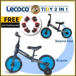 [BLUE] Lecoco 2 In 1 Tidy Push Bike Balance Bike with Training Wheels