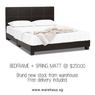 Brand New Queen Size Bed and Spring Mattress Bundle Set