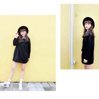 黑色長版上衣