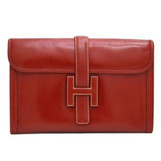 Authentic HERMES Red Jige Clutch PM 29cm