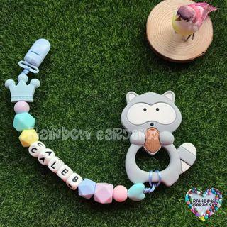 Handmade Pacifier Clip with Customised name with letter beads + Grey Raccoon teether