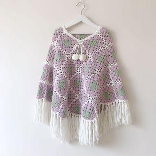 *NEW* Girls fringed knit cape size 6, 7, 8