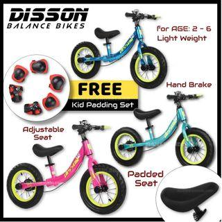[Free Padding] Disson Balance Bike Tube Tyre Kid Push Bike Training Racing Bike