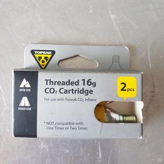 Topeak Threaded 16g CO2 Cartridge x 2 pcs