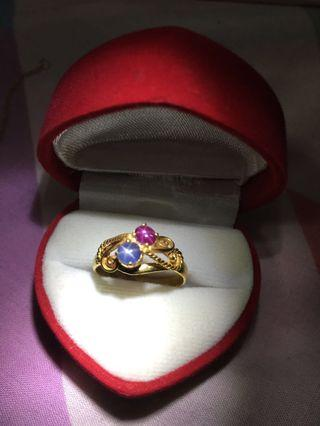 0.80 Cts Burma Star Ruby and Star Sapphire Ring (10% new year discount on listed price until 30Aprl19)