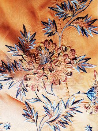 100% made in Sg. Rare! Vintage Nonya Kebaya Top made of deep orange sheer voile embellished with embroidered golden brown flower blooms.