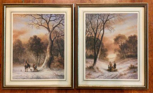 Vintage Pair of Art Prints & Framed by R. Cavallar