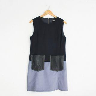 (S-M) Korean Fashion Style Blue ColorBlock Sleeveless Dress with Faux Leather Pockets