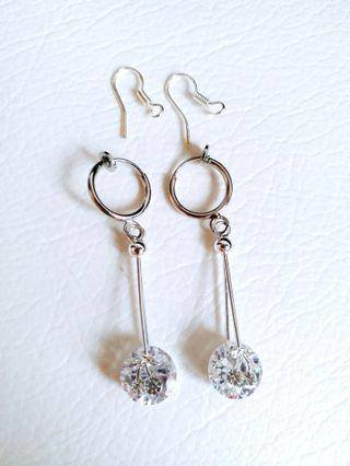 水晶耳環 Crystal Earrings 夾耳或穿耳均可