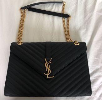 YSL Envelope Large Bag in Grain De Poudre Embossed Leather