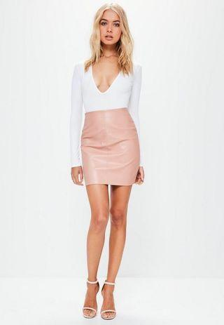 Missguided nude faux leather skirt  #SSV8