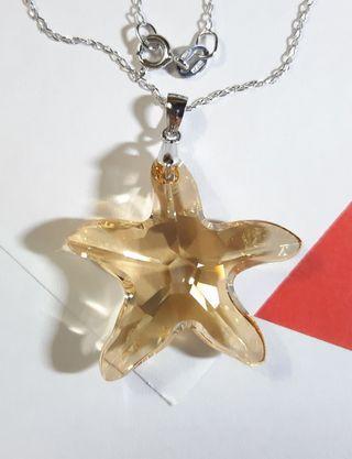 "Swarovski elements crystal 28 mm 6721 pendant star fish shape 925 clasp Italy 925 sterling silver necklace 施華洛世奇水晶元素海星形型吊墜咀嘴配925瓜子扣16""意大利製項鍊頸鏈"